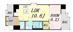 スプランディッド新大阪V 2階1LDKの間取り