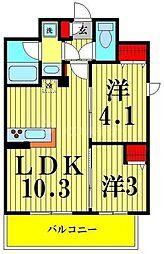 アーバネックス菊川II 3階2LDKの間取り