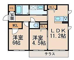 シャーメゾン吉礼 1階2LDKの間取り