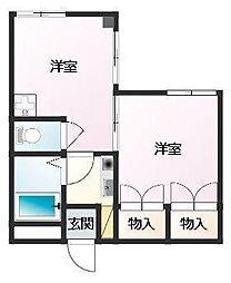 サンパルコマンション 8階2Kの間取り