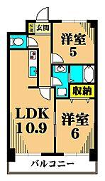 カーサ大井町 8階2LDKの間取り