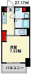 仮) 折尾4丁目マンション 6階1Kの間取り