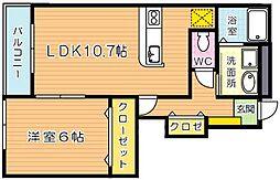 アバンツァートカーサ溝尻B棟[1階]の間取り