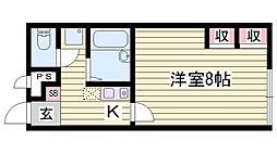 JR播但線 香呂駅 徒歩8分の賃貸アパート 2階1Kの間取り