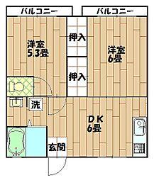 杉田ハイム  C棟[105号室]の間取り