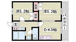 JR東海道・山陽本線 明石駅 バス15分 玉津インター前下車 徒歩4分の賃貸アパート 1階2DKの間取り