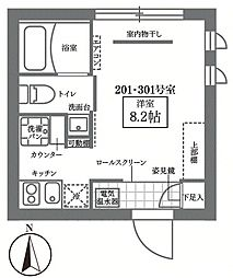 JR山手線 御徒町駅 徒歩10分の賃貸マンション 2階ワンルームの間取り