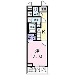 JR山手線 駒込駅 徒歩10分の賃貸マンション 3階1Kの間取り