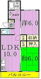 小松コーポ1.2号棟[3階]の間取り