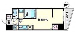 アクアプレイス天王寺III 5階ワンルームの間取り
