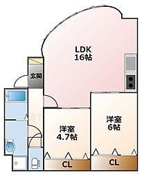 コロナール甲子園[-1階]の間取り