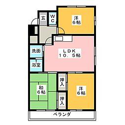 ハイネス津久紫[7階]の間取り
