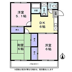 神奈川県横浜市瀬谷区阿久和東1丁目の賃貸マンションの間取り