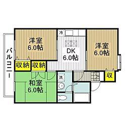 西武国分寺線 恋ヶ窪駅 徒歩15分の賃貸アパート 2階3DKの間取り