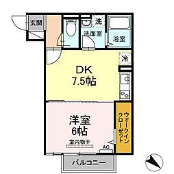 アイリス 2階1DKの間取り
