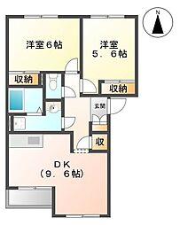 千葉県野田市古布内の賃貸アパートの間取り