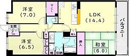 エスリード西宮甲陽園II番館エアーズ 4階3LDKの間取り
