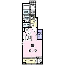 JR予讃線 松山駅 徒歩9分の賃貸アパート 7階1Kの間取り