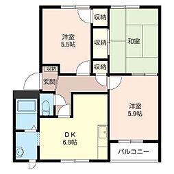 暁ハイツA[1階]の間取り
