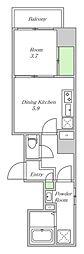 Osaka Metro中央線 阿波座駅 徒歩1分の賃貸マンション 5階1DKの間取り