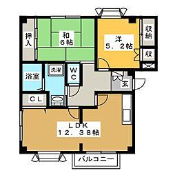 レヴンワース E棟[2階]の間取り