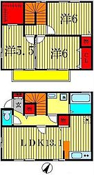 [テラスハウス] 千葉県松戸市八ヶ崎6丁目 の賃貸【/】の間取り