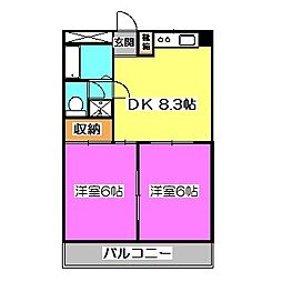 富士見パークマンション[3階]の間取り