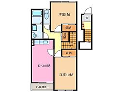 三重県松阪市曽原町の賃貸アパートの間取り