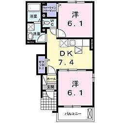 アンジュB[1階]の間取り