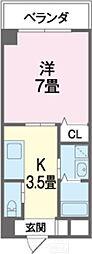 プランドール三原 6階1Kの間取り