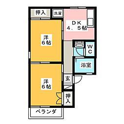 セジュール伏見 A[2階]の間取り