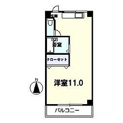 コーポミヤコ 3階ワンルームの間取り