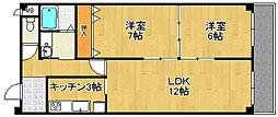 兵庫県尼崎市水堂町3丁目の賃貸マンションの間取り