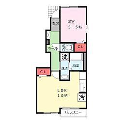 JR阪和線 北信太駅 徒歩21分の賃貸アパート 1階1LDKの間取り