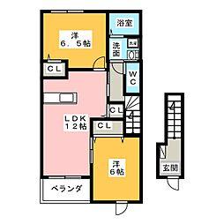 パルテ・カナ−レ I・II・III[2階]の間取り