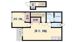 JR加古川線 社町駅 バス20分 社病院前下車 徒歩10分の賃貸アパート 2階1LDKの間取り