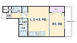 仮称)深草町通町新築マンション 3階1LDKの間取り