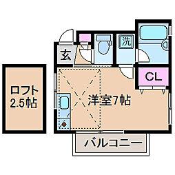 神奈川県横浜市港北区綱島東4丁目の賃貸アパートの間取り