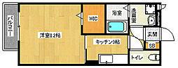 京都府京都市西京区樫原分田の賃貸アパートの間取り