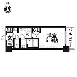 プレサンスTHE KYOTO華苑302 3階1Kの間取り