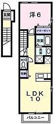 東京都昭島市宮沢町の賃貸アパートの間取り