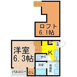 愛知県名古屋市熱田区大宝2丁目の賃貸アパートの間取り