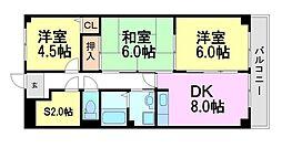 兵庫県尼崎市東園田町6丁目の賃貸マンションの間取り