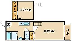 兵庫県神戸市西区前開南町2丁目の賃貸アパートの間取り