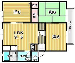 大阪府茨木市西河原1丁目の賃貸アパートの間取り