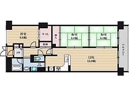 ファミールハイツ北大阪5号棟[3階]の間取り