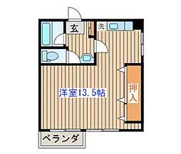 仙台市地下鉄東西線 八木山動物公園駅 徒歩7分の賃貸マンション 2階ワンルームの間取り