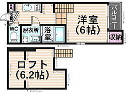 福岡県福岡市博多区南八幡町2の賃貸アパートの間取り