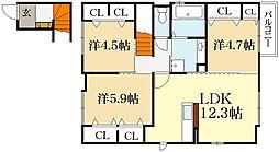 パークヒル岩倉[2階]の間取り