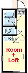 相鉄本線 星川駅 徒歩16分の賃貸アパート 2階ワンルームの間取り